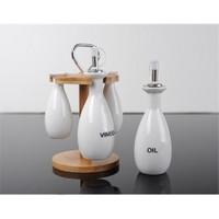Fidex Home Porselen Bambulu Yağlık-Sirkelik Set
