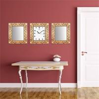 Carven Motfili Dikdörtgen 2'Li Ayna Ve Duvar Saati Kombin Kahve Altın