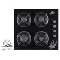 Termikel 17152 B604D Lavinya Desenli 4 Gözü Gazlı Siyah Cam Ankastre Ocak