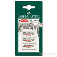 Faber-Castell 3 Plastik Silgi 7086/48 - Beyaz (5500188648)