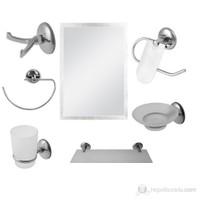 7 Parça Krom Banyo Aynalı Set (Kare Model)