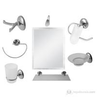 8 Parça Krom Banyo Aynalı Set (Kare Model)