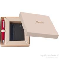 Scrikks DR 3104-C1/2 Soft Deri Haki Kredi Kartlık + 62 Tükenmez Kalem Kırmızı Set