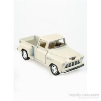 Kinsmart 1955 Chevy Stepside Pick-Up Çek Bırak 1/32 Die Cast Model Araç Beyaz