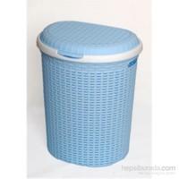 İstridye Çamaşır Sepeti Plastik Rattan - Mavi