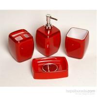 Kosova 4 Lü Akrilik Çanta Kırmızı Banyo Seti-Pby029
