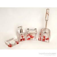 4 Lü Kırmızı Kelebek Sulu Kare Banyo-Tuvalet Seti-Dchb9456 (Asorti)