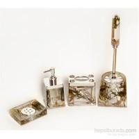 4 Lü Yeşil Çiçek Sulu Kare Banyo-Tuvalet Seti-Dchb9456