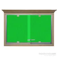 Akyazı 90x180 Ahşap Camekanlı Kumaşlı Pano (Yeşil)