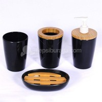 Siyah Melamin Bambu Banyo seti