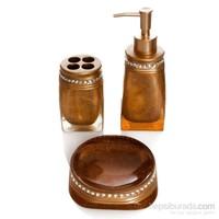 Bosphorus Taşlı Altın Banyo Set 3lü