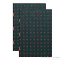 Paper-Oh 9190-5 Twin A5 Cizgili Black On Red Defter