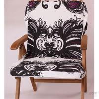 Yastıkminder Siyah Beyaz Desenli Koton Çanta Şezlong Minderi