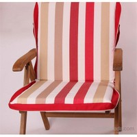 Yastıkminder Kırmızı Bordo Çizgili Polyester Çanta Şezlong Minderi