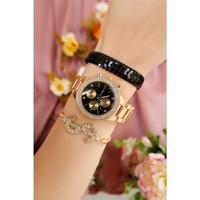 Morvizyon Sarı Kaplama Siyah İç Tasarımlı Bayan Saat Ve Bileklik Kombini