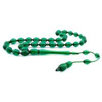 Tesbihane Usta İşçiliği Arpa Kesim Yeşil Bakalit Kehribar Tesbih-2