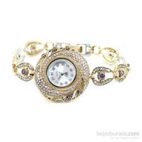 Dhamany Mor Taşlı Yuvarlak Bayan Gümüş Saat