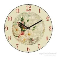 Cadran 140-22 Retro Vintage Bombeli Cam Duvar Saati Beyaz Çiçekler