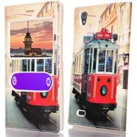 CoverZone Vestel Venüs V3 Kılıf 5570 Kapaklı Tramway Desenli