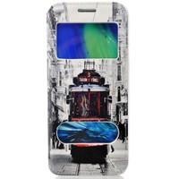 CoverZone Samsung Galaxy E5 Kılıf Kapaklı Resimli Pencereli Taksim