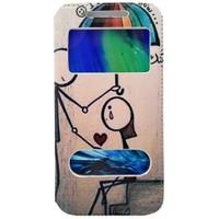 CoverZone Samsung Galaxy E5 Kılıf Kapaklı Resimli Pencereli Couple