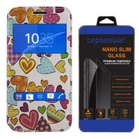 Cepsesuar Sony Xperia Z3 Kılıf Standlı Kalpli - Cam