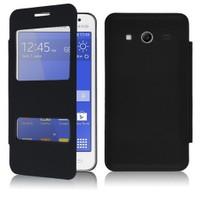 Microsonic Dual View Delux Kapaklı Samsung Galaxy Core 2 Kılıf Siyah