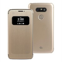 Microsonic Lg G5 Kılıf View Delux Kapaklı Akıllı Gold