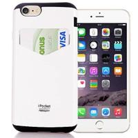 Coverzone Apple iPhone 6 Kılıf Mercury Kartvizit Bölmeli Sert + Cam