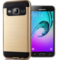 Coverzone Samsung Galaxy J1 216 Kılıf Antişok Darbe Koruma Sert + Gold
