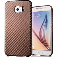 Coverzone Samsung Galaxy S6 Edge Kılıf Karbon Kapak + Kavisli Jelatin Kahverengi