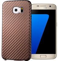 Coverzone Samsung Galaxy S7 Kılıf Karbon Kapak + Kahverengi