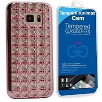 Teleplus Samsung Galaxy S7 Edge Taşlı Desenli Silikon Kılıf Rose Gold + Cam Ekran Koruyucu