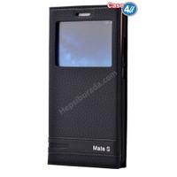 Case 4U Huawei Mate S Pencereli Kapaklı Kılıf Siyah