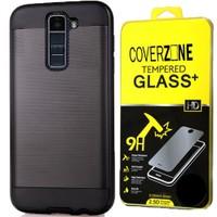 CoverZone Lg K10 Kılıf Çift Katmanlı Sert Antişok Siyah + Cam