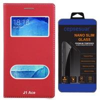 Cepsesuar Samsung Galaxy J1 Ace Kılıf Kapaklı Dolce Kırmızı + Cam