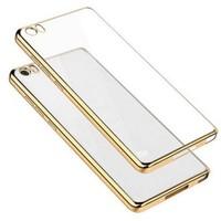 CoverZone Sony Xperia M5 Kılıf Metalize Kenar Silikon Gold