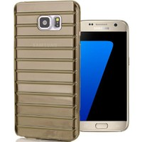 CoverZone Samsung Galaxy S7 Kılıf Çizgili Silikon Füme