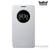 CaseCrown Asus Zenfone 6 Flip Cover Mıknatıslı Uyku Modlu Kılıf Beyaz