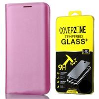 Coverzone Samsung Galaxy J3 Kılıf Kapaklı Flip Cover Deri Pembe + Cam