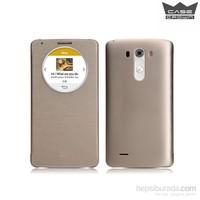 CaseCrown LG G3 Flip Cover Altın Uyku Modlu