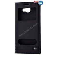 Case 4U Samsung Galaxy A9 (2016) Pencereli Kılıf Siyah