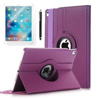 """Exclusive Phone Case Exclusive Phone Case iPad Pro 9.7"""" Kılıf 360 Standlı Mor+Film+Kalem"""