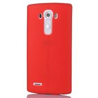 CoverZone Lg G4 Deri Görünümlü Silikon Kılıf Kırmızı