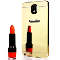 CoverZone Samsung Galaxy Note 3 Kılıf Aynalı Metal Bumper Gold