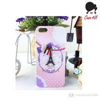 Case 4U Ladies Apple iPhone 5/5s Paris Love Pembe Arka Kapak