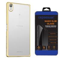 Cepsesuar Sony Xperia Z5 Premium Kılıf Silikon Lazer Gold - Cam