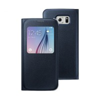 Microsonic View Premium Leather Samsung Galaxy S6 Deri Kapaklı Kılıf (Akıllı Modlu) Siyah