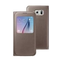Microsonic View Premium Leather Samsung Galaxy S6 Deri Kapaklı Kılıf (Akıllı Modlu) Gold
