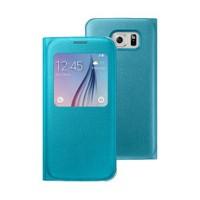 Microsonic View Premium Leather Samsung Galaxy S6 Deri Kapaklı Kılıf (Akıllı Modlu) Mavi